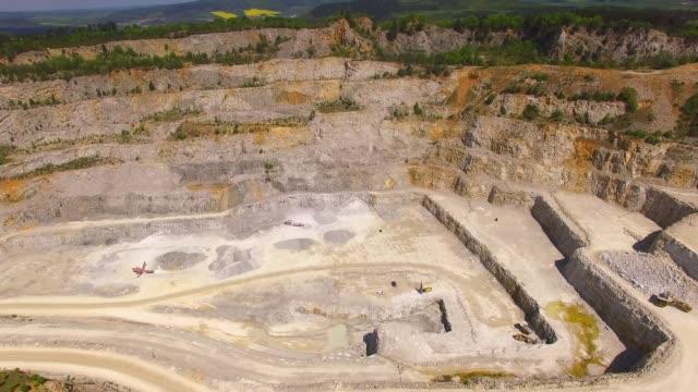 Drone flight over a biggest Czech limestone quarry Devil's Stairs - Certovy Schody.
