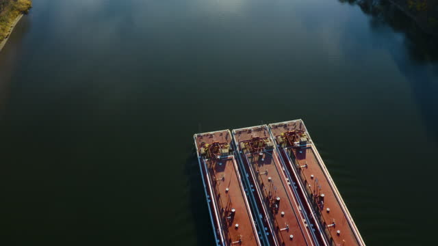 Drone Flight Over Barge on the Illinois River at Ottawa IL video