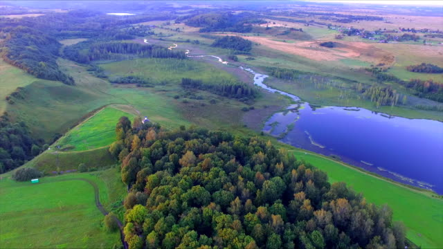 Drone flight over beautiful landscape and ancient hillfort in environs of Izborsk