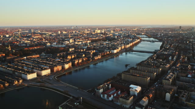 Drone Flight Over City And Bridge Of Copenhagen Drone Flight Over City And Lakes Of Copenhagen, Denmark denmark stock videos & royalty-free footage