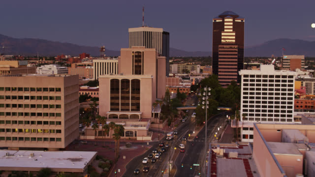 Drone Flight Over Downtown Tucson with Reveal of Freeway