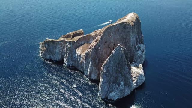 vídeos y material grabado en eventos de stock de vuelo de drone sobre famoso kicker rock, islas galápagos, ecuador - tubo
