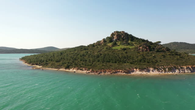 drone flight over famous tropical island - isole egee video stock e b–roll