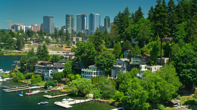 Drone Flight Over Lakefront Houses on Lake Washington Towards Meydenbauer Bay Park and Downtown video
