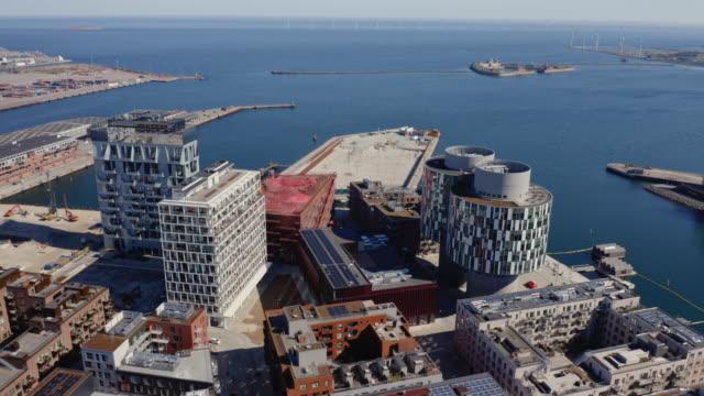 drönarflygning över nordhavns hamn - dansk kultur bildbanksvideor och videomaterial från bakom kulisserna
