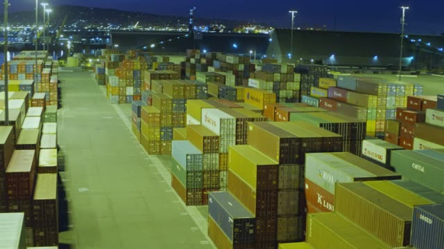 Drone Flight Over Port Shipping Container Terminal at Night video