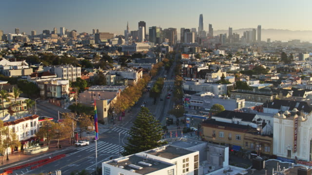 Drone Flight Over Rainbow Flag Flying Above The Castro, San Francisco video