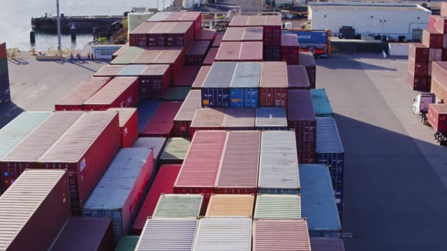 Drone Flight Over Shipping Containers video
