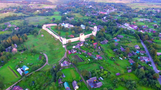 Drone flight over the ancient fortress Izborsk