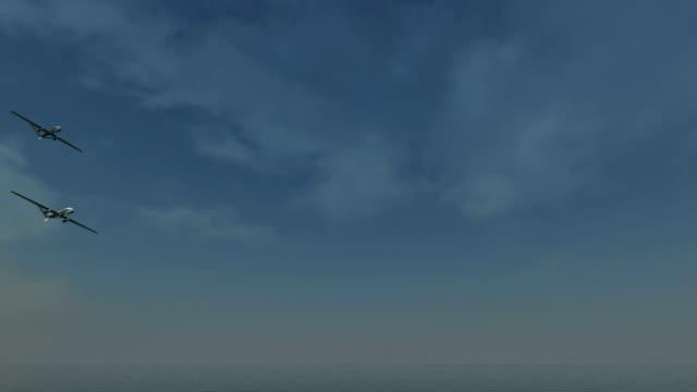 바다 위로 드론 항공편 - 무인항공기 스톡 비디오 및 b-롤 화면