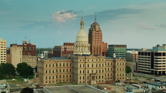 Drone Flight Over Van Wagoner Building Towards Michigan State Capitol video