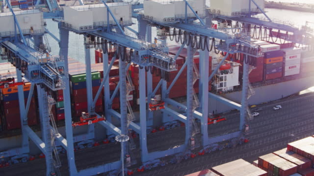 Drone Flight Past Cargo Cranes and Container Ship video