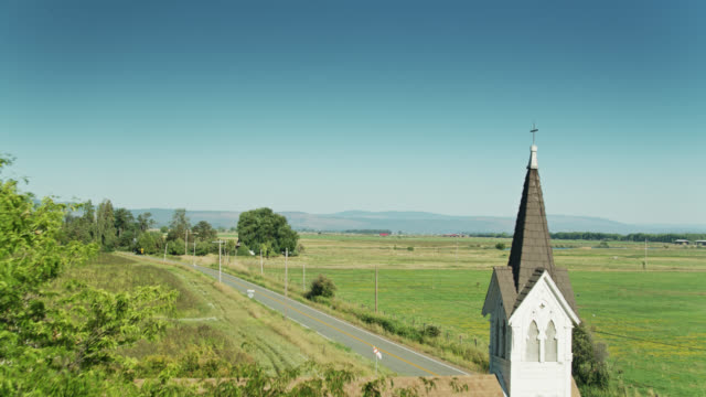 Drone Flight Past Church Amid Farmland in Glenburn, California