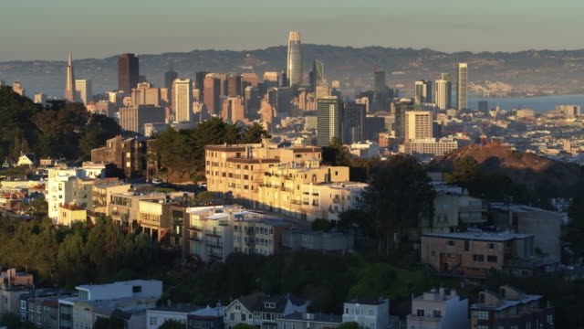 Drone Flight Past Mt Olympus, San Francisco, at Sunset video