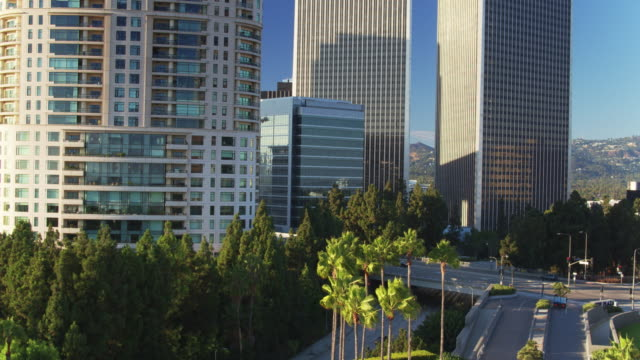 Drone Flight Towards Office Towers in Century City, Los Angeles video