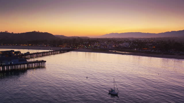 Drone Flight Towards Santa Barbara at Twilight video