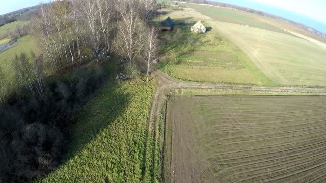 Drone fly up over farmland fields and old wooden house video