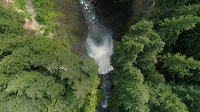 Drone Flying Directly Over Brandywine Falls Waterfall Cliffs Edge Slow Motion video