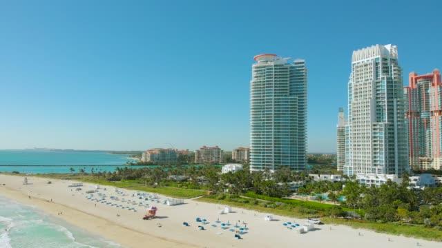 Drone flying forward near Miami Beach, South Beach video