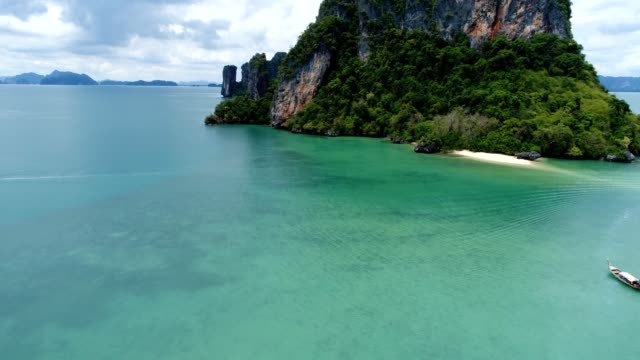 Drone flying over beautiful island in the Souther part of Thailand video