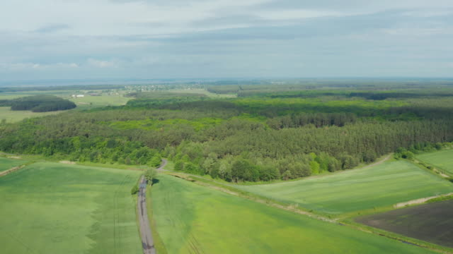 Drone flying over field countryside at sunny cloudy spring time, zone of risky agriculture. video