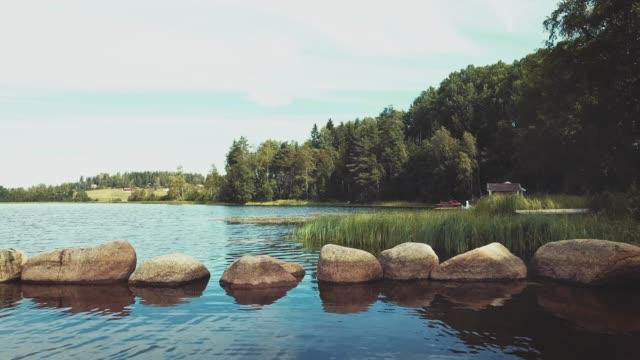 drone flyger över sjön - summer sweden bildbanksvideor och videomaterial från bakom kulisserna