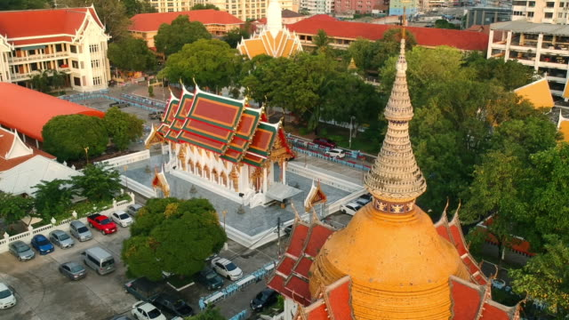 Drone flying over South Pattaya public beautiful historic temple. Where locals go for religious events. Drone flying over South Pattaya public beautiful historic temple. Where locals go for religious events. pattaya stock videos & royalty-free footage