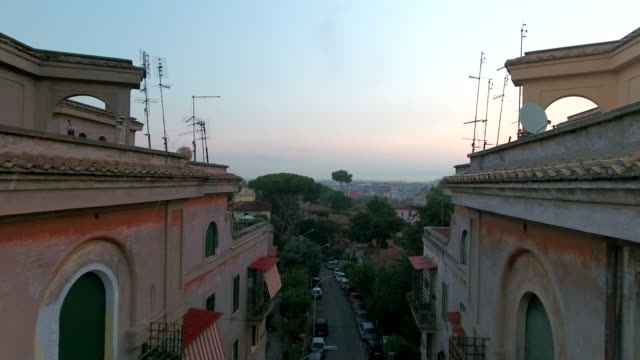 Drone flying through Rome buildings video