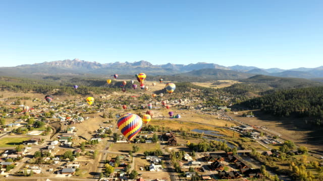 Drone Flying Towards Hot Air Balloons in Colorado video