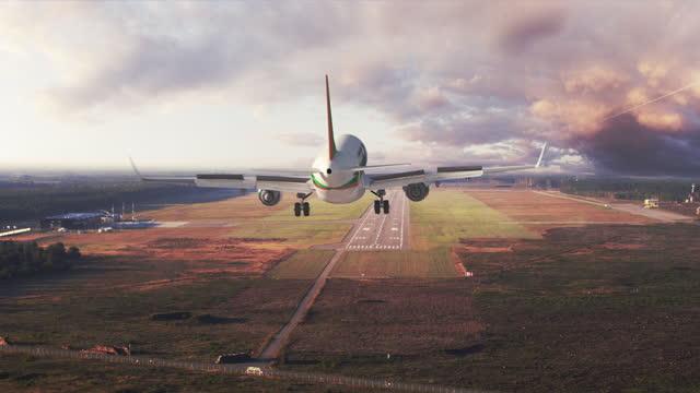 drohne nach passagierflugzeug nach start - asphalt stock-videos und b-roll-filmmaterial