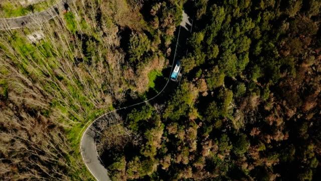 vídeos y material grabado en eventos de stock de zángano sigue azul autobús conduciendo por carretera de montaña. vista aérea de una calzada muy estrecha del bosque. viajes y turismo. 4k - autobús