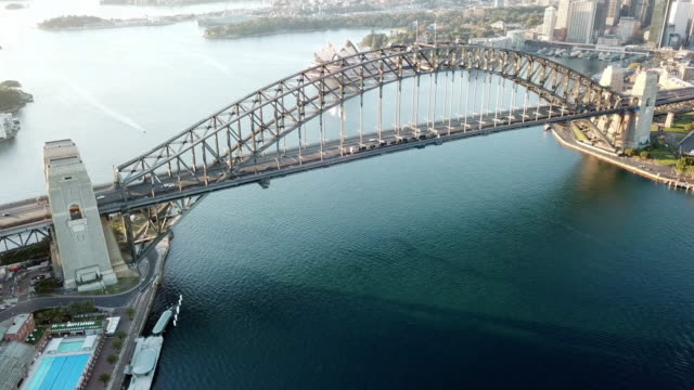 drone footage b-roll of Sydney Harbour Bridge during sunrise. video