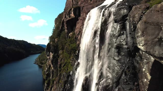 Drone footage - Brudesløret waterall, Norway