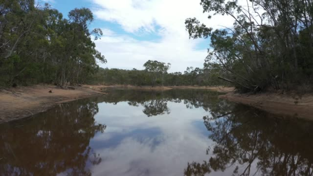 Drone footage of a drought affected water reservoir in outback Australia video