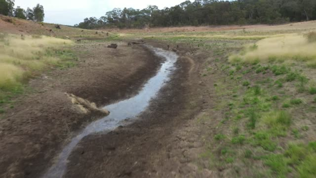 Drone footage of a large fresh water reservoir in Australia being challenged by severe drought video