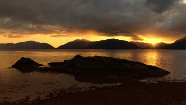drone footage of a stormy sunset over loch linnhe, from north ballachulish, fort william, scotland. - fort william video stock e b–roll