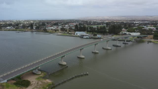 Drone footage of a vehicle and pedestrian bridge in southern Australia video