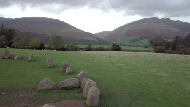 Drone footage of Castlerigg Stone Circle in The lake District, UK