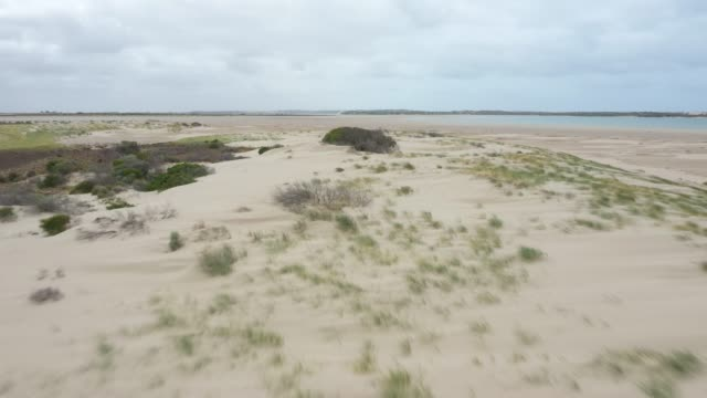 Drone footage of sand dunes at the mouth of the Murray River in South Australia video