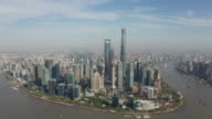 istock Drone footage of Shanghai city skyline in Day time, China 4k video 1189441632