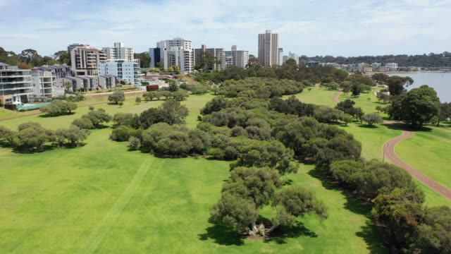 Drone footage of Sir James Mitchell Park in South Perth in Western Australia video