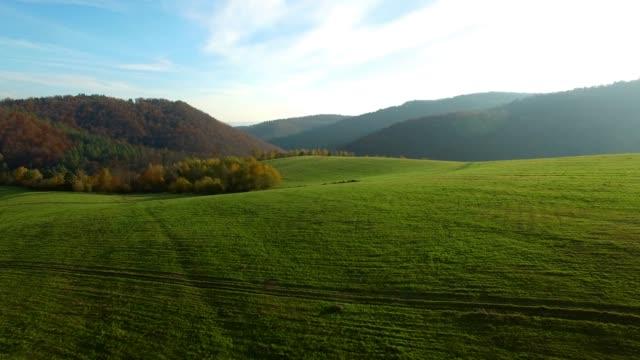 Drone footage of sunny day in Bieszczady.