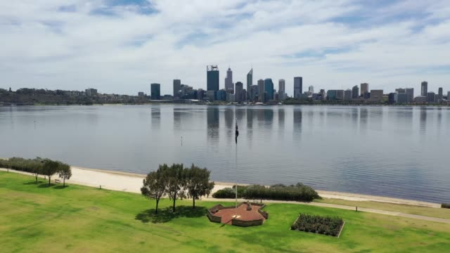 Drone footage of the city of Perth in Western Australia video