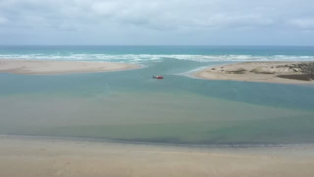 Drone footage of the mouth of the Murray River in South Australia video