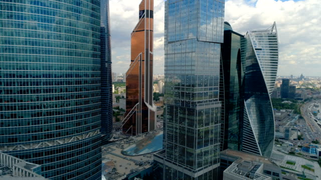 Drone footage of unique Moscow skyscrapers. video