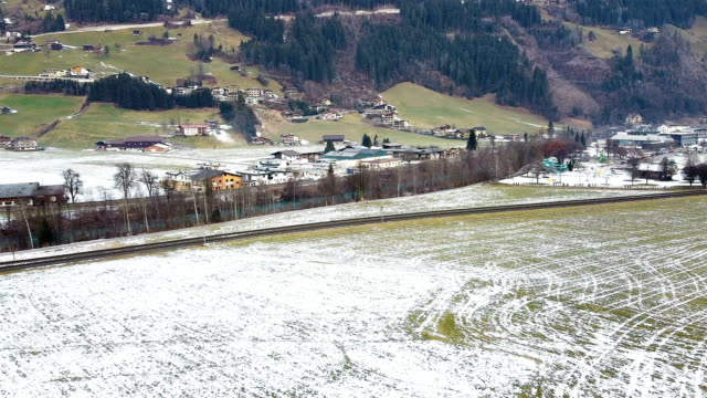 drone footage still shot of the beautfiul winter village Ischgl in Austria