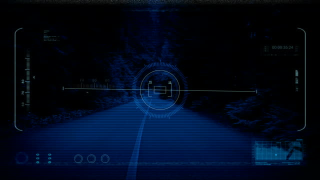 Drone POV Forest Along Road At Night