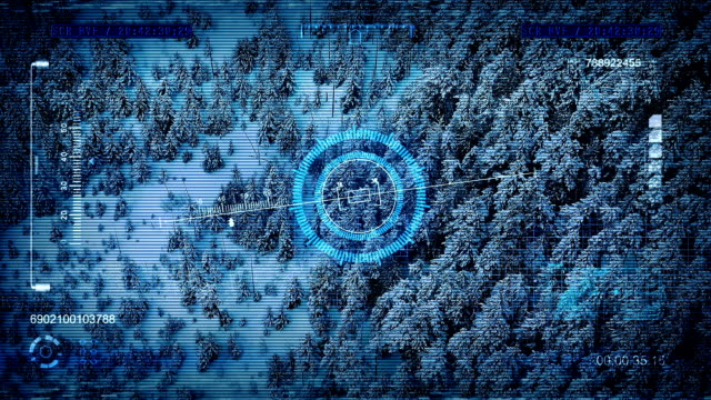 Drone HUD Display Fly Over Winter Forest video