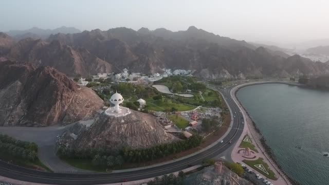 drone in the capital, muscat, sultanate of oman - oman video stock e b–roll
