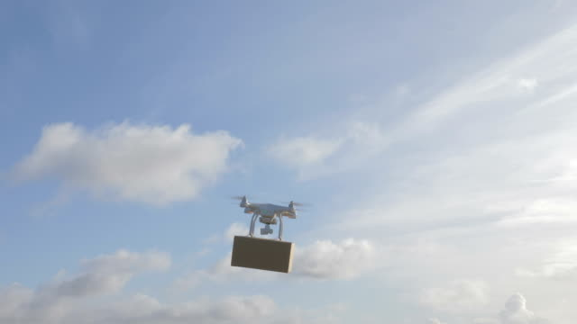 drone in the sky deliver a package video